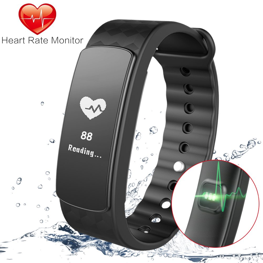 Fitness Tracker Gosund C8 Activity Tracker with Heart Rate Monitoring and Pedometer Call SMS Reminder for Android/IOS
