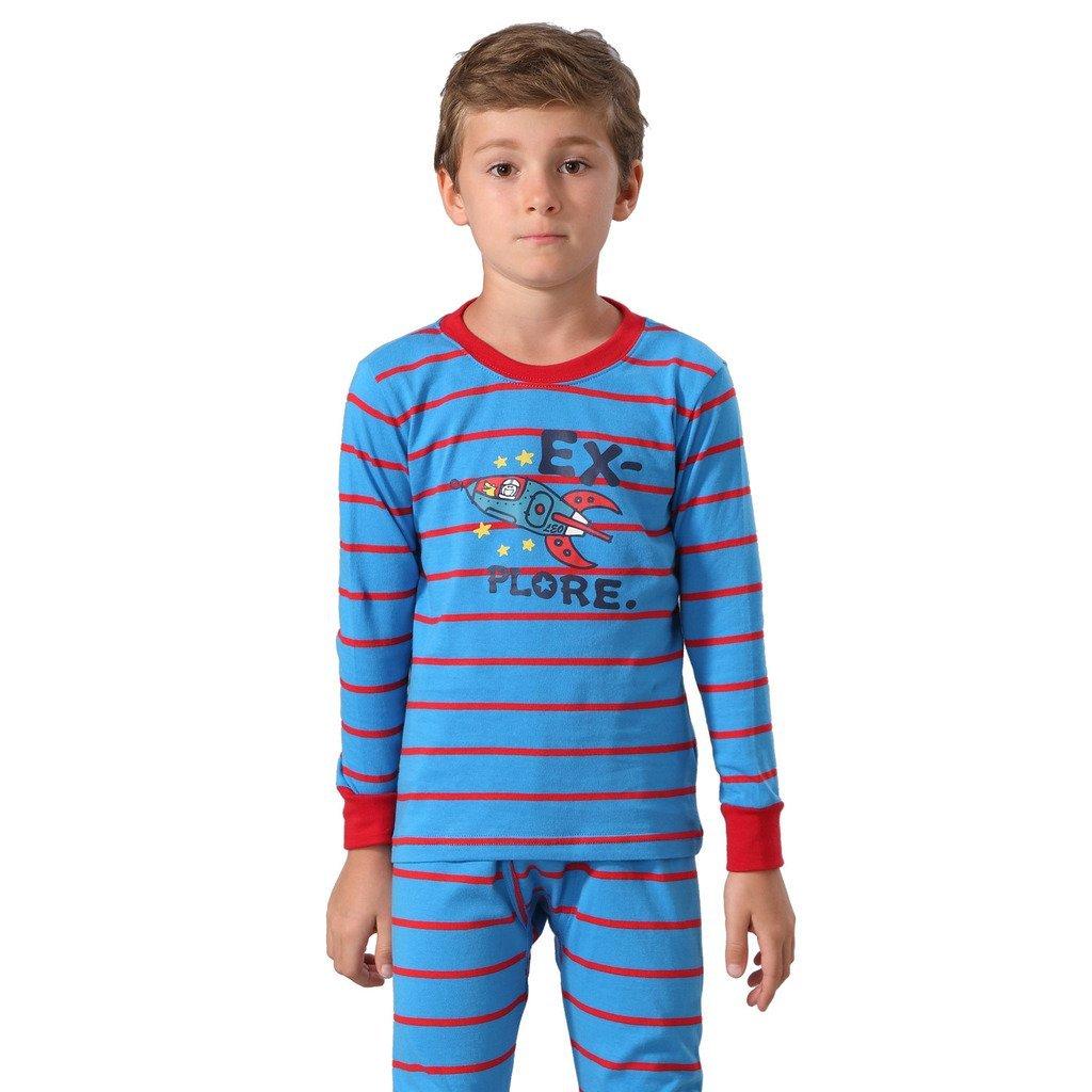 Leo&Lily Big Boys Cotton Stripe Printed Pajamas Sets (Blue, 7)