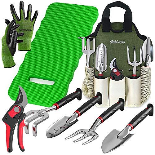 8-Piece Gardening Tool Set-Includes EZ-Cut Pruners, Lightweight Aluminum Hand Tools with Soft Rubber Handles- Trowel…