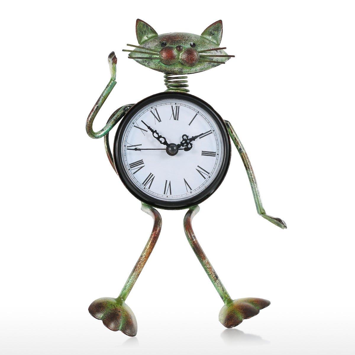 Tooarts Small Cat Desk Clock Handmade Vintage Metal Cat Figurine Decorative Table Animal Clock