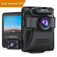 Crosstour Dash Cam Auto 1080P Vorne und 720p Hinten Kamera GPS Armaturenbrett Autokamera Dashcam mit Einparkhilfe, Infrarot Nachtsichtmodus, Bewegungsmelder, Beschleunigungssensor and WDR
