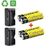 4 x 3.7V Li-ion 6000mAh 18650 Battery Rechargeable Batteries + 2x Dual Charger for Outdoor LED Flashlight(NOT AA or AAA Battery)