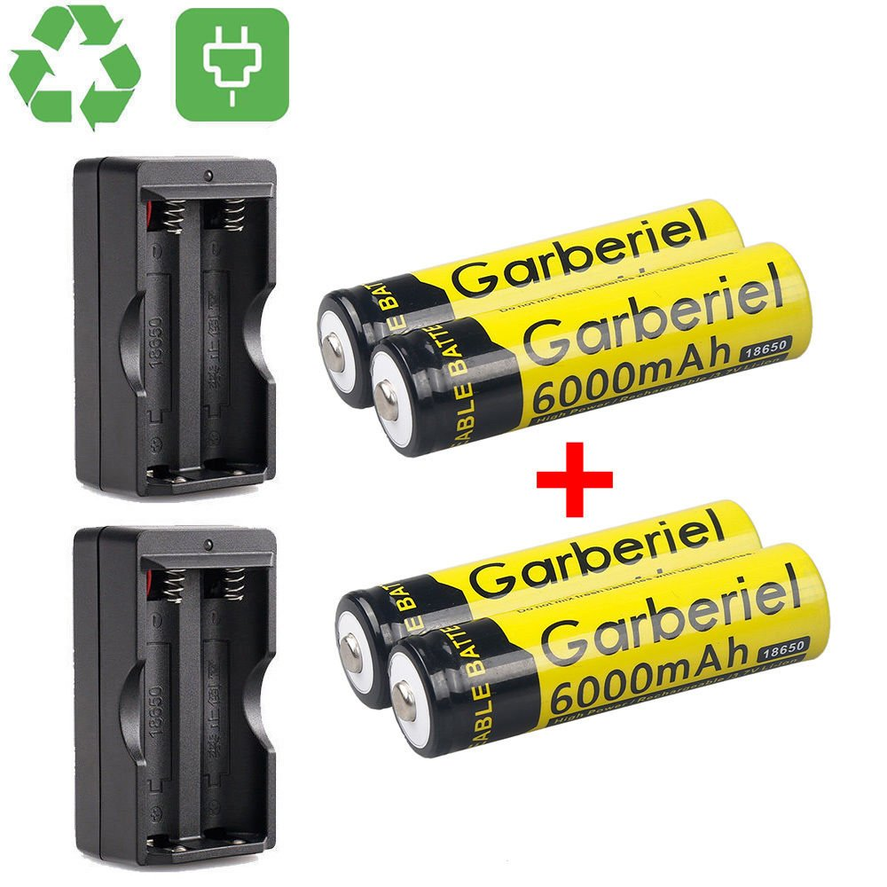 HeCloud 4 x 3.7V Li-ion 6000mAh 18650 Battery Rechargeable Batteries with 2x Dual Charger for Outdoor LED Flashlight