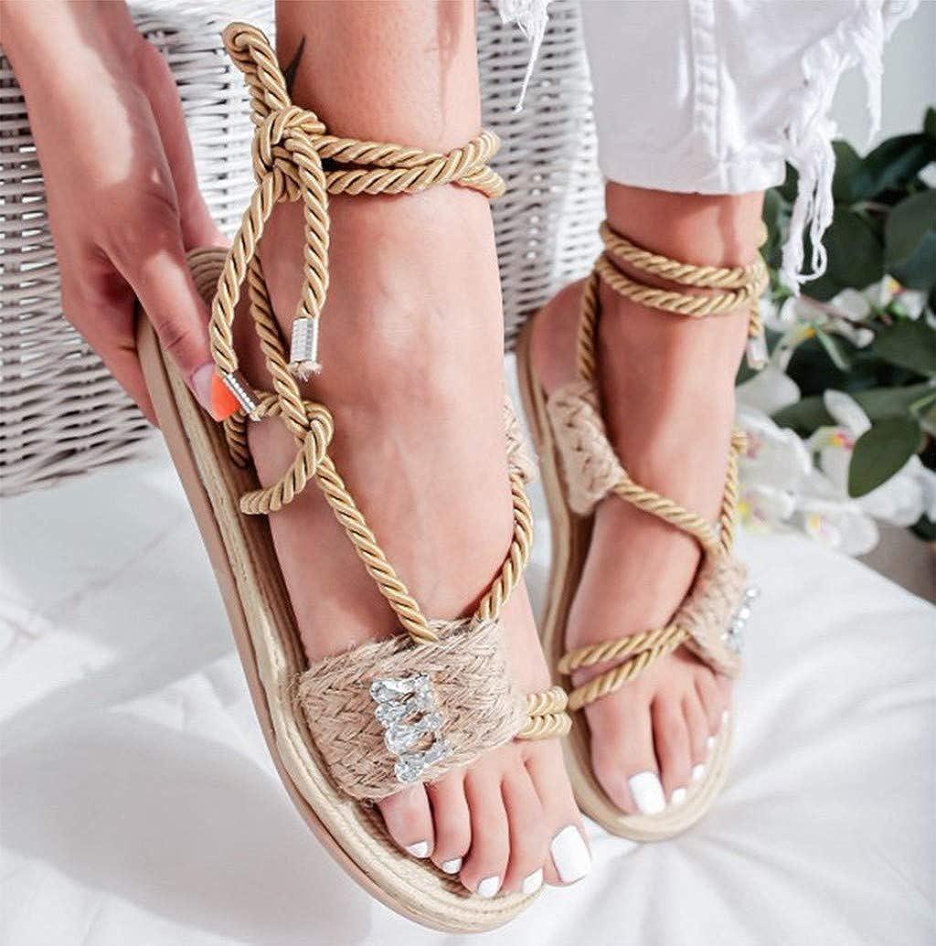 Nevera Summer Shoes Women Vintage Roman Open Toe Sandals Flat Gladiator Sandals Non Slip Lace Up Bottom Sandals