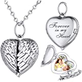 925 Sterling Silver Personalized Photo Heart Locket Necklace Forever in My Heart Custom Add Your Text That Holds Pictures for