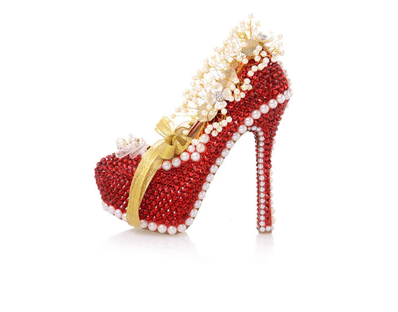 ZHRUI Damen-Kristalle, die rote Braut Versteckte Plattform-Pumpen Plattform-Pumpen Plattform-Pumpen Großbritannien bördeln 2.5 (Farbe   -, Größe   -) c93eb0