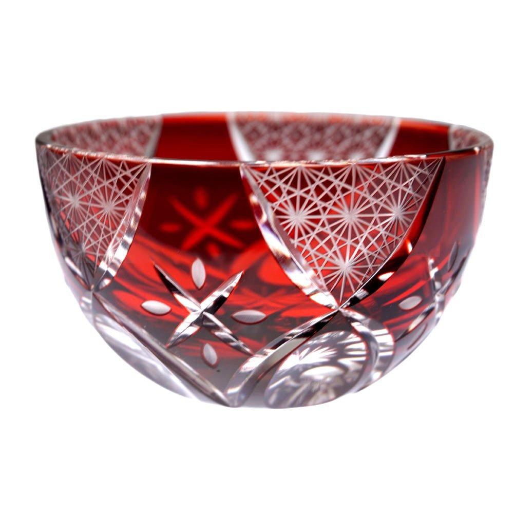Fireworks Motif Guinomi Sake Cup Shot Glass Edo Kiriko Design Cut Glass - Red [Japanese Crafts Sakura] Japanese Crafts Shop Sakura