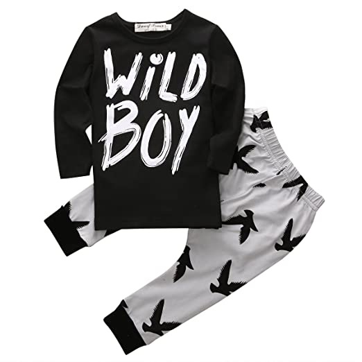 3071a1aea Canis Toddlers Baby Boys Clothes Set Long Sleeve Wild Boy T-Shirt Tops  Pants Outfit