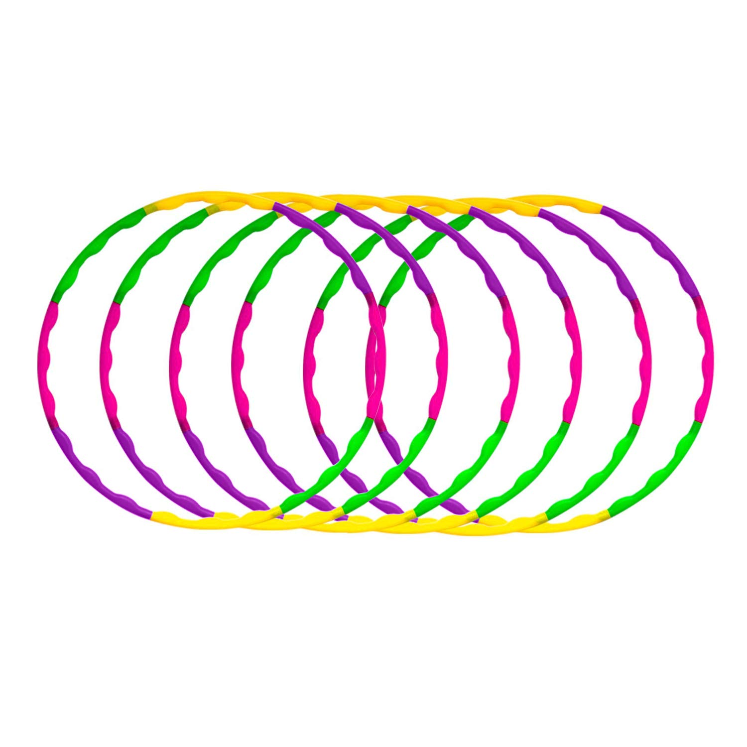 Enchanted Mango Snap Together Detachable Kids Hula Hoop for Playing, 32-Inch (Pack of 6) by Enchanted Mango (Image #1)