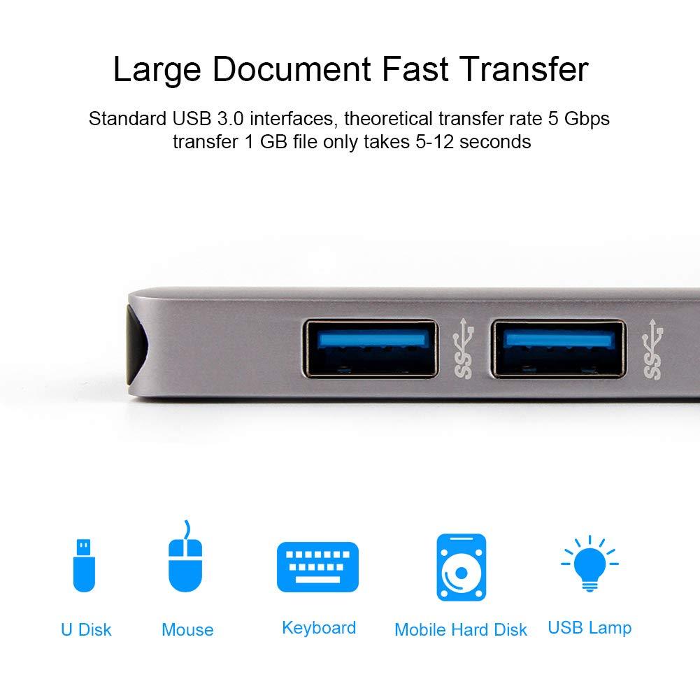 Hagibis concentrador de USB c a HDMI 4K HD para MacBook Pro 2016//2017//2018 Convertidor de 5-in-1 Tipo-c a HDMI Lector de Tarjeta SD//TF y USB 3.0 de 2 Puertos