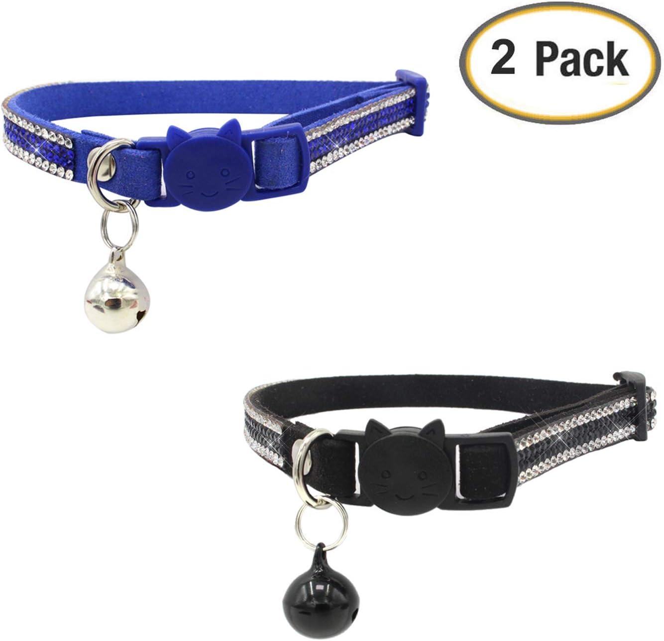 Newtensina 2 Piezas Campanas Gato Collar Set Cómodo Equipado Suave Bling Lindo Gatito Collares con Diamantes: Amazon.es: Productos para mascotas