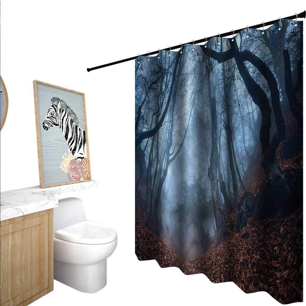 BlountDecor フォレストシャワーカーテン シャワーフック付き カナディアンメープルアイディリック 55x72インチ バスルームに最適 63