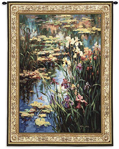 Summer Lily by Vail Oxley | Woven Tapestry Wall Art Hanging | Impressionist Floral Theme | 100% Cotton USA Size 53x42 (Silk Wool Tapestry)