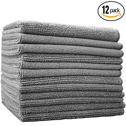 (12-Pack) 12 in. x 12 in. Commercial Grade All-Purpose Microfiber HIGHLY ABSORBENT, LINT-FREE, STREAK-FREE Cleaning Towels - THE RAG COMPANY (Grey)