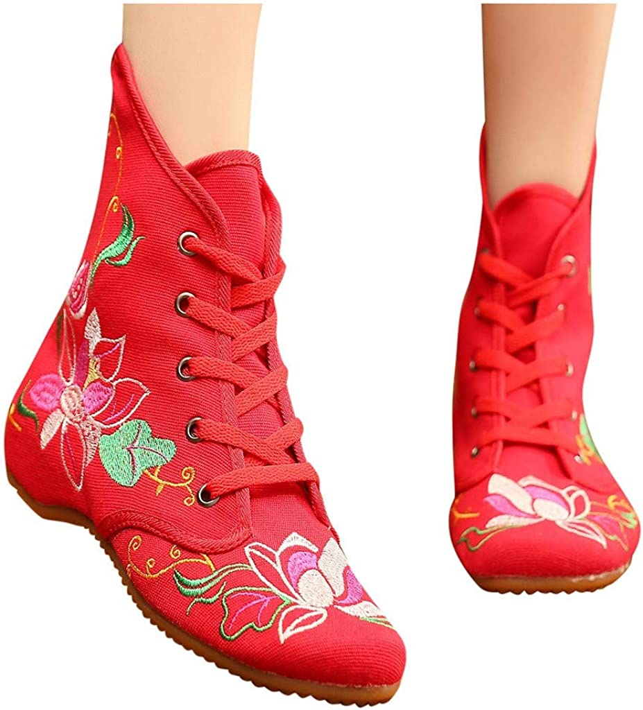 Womens Ankle Boots Casual Embroidered Lace-up Flat Shoes Outdoor Sports Shoes Sneakers