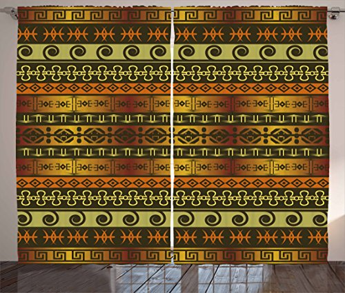 Ambesonne Zambia Curtains, Ethnic Ornamental Abstract Heritage...