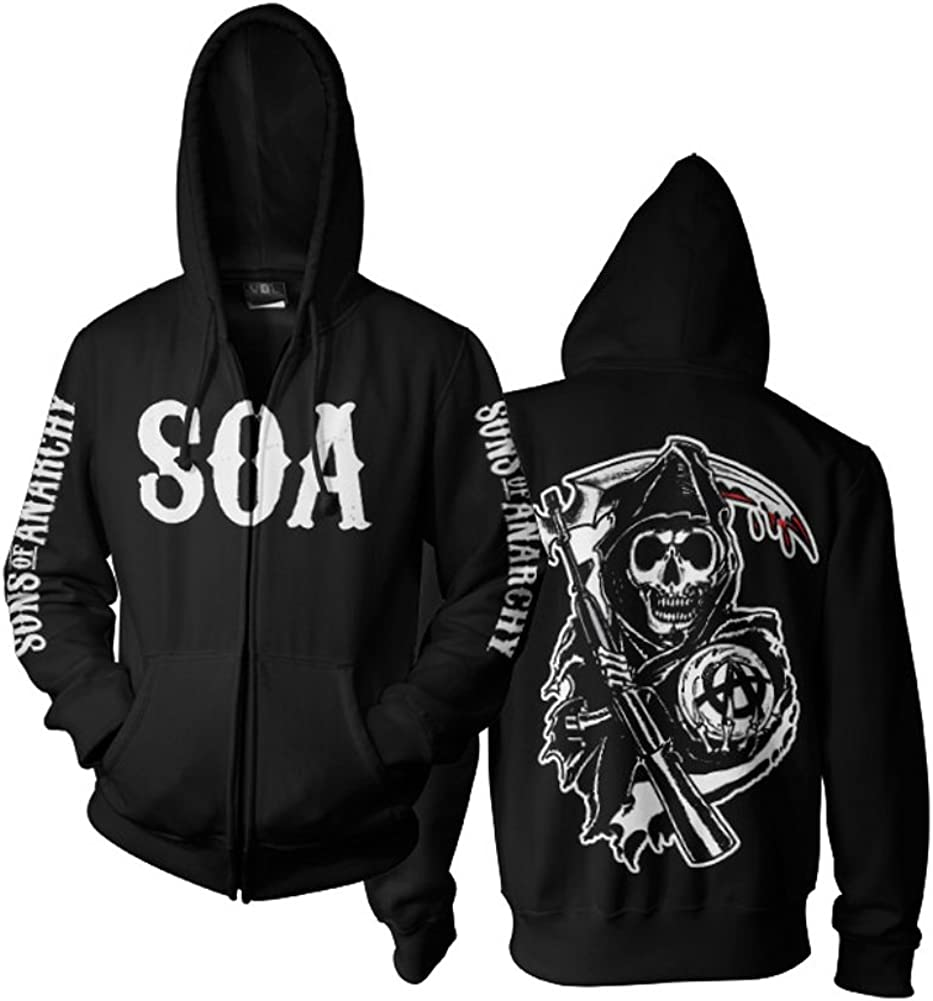 Sons of Anarchy Officially Licensed Merchandise SOA Reaper Zipped Hoodie