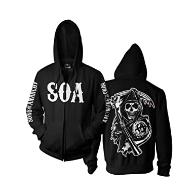 3d857aff Amazon.com: Sons of Anarchy SOA Reaper Zipped Hoodie: Clothing