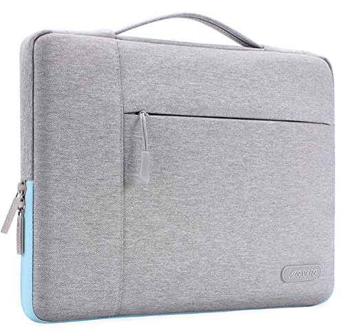 MOSISO Polyester Fabric Multifunctional Sleeve Briefcase Handbag Case Cover Compatible 13-13.3 Inch Laptop, Notebook, MacBook Air/Pro, Gray & Hot Blue