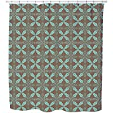 Uneekee Moroccan Mint Shower Curtain: Large Waterproof Luxurious Bathroom Design Woven Fabric