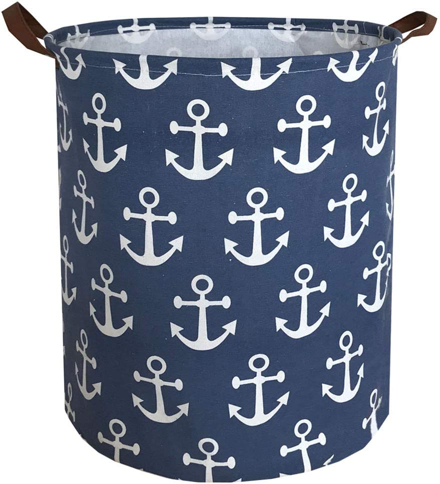 Sanjiaofen Canvas Fabric Storage Bins,Collapsible Laundry Baskets,Waterproof Storage Baskets with Leather Handle,Home Decor,Toy Organizer (Navy Blue Anchor)