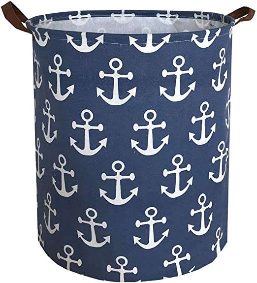 Amazon Com Sanjiaofen Canvas Fabric Storage Bins Collapsible Laundry Baskets Waterproof Storage Baskets With Leather Handle Home Decor Toy Organizer Navy Blue Anchor Home Kitchen