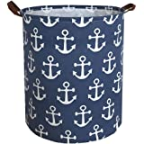 Sanjiaofen Canvas Fabric Storage Bins,Collapsible Laundry Baskets,Waterproof Storage Baskets with Leather Handle,Home…