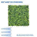 E&K Sunrise 9pcs 20''x20'' Artificial Boxwood Hedge Panel, Decorative Privacy Fence Screen Greenery Faux Plant Tree Wall for Indoor or Outdoor Garden Décor