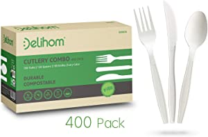 Delihom Disposable Forks Spoons and Knives Utensil Set – 100% Compostable Cutlery 400 Piece Durable and Heat Resistant Eco Friendly Flatware Set Party Supplies
