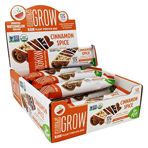 Go Raw - Organic Sprouted Plant Protein Bars Box Cinnamon Spice - 12 Bars
