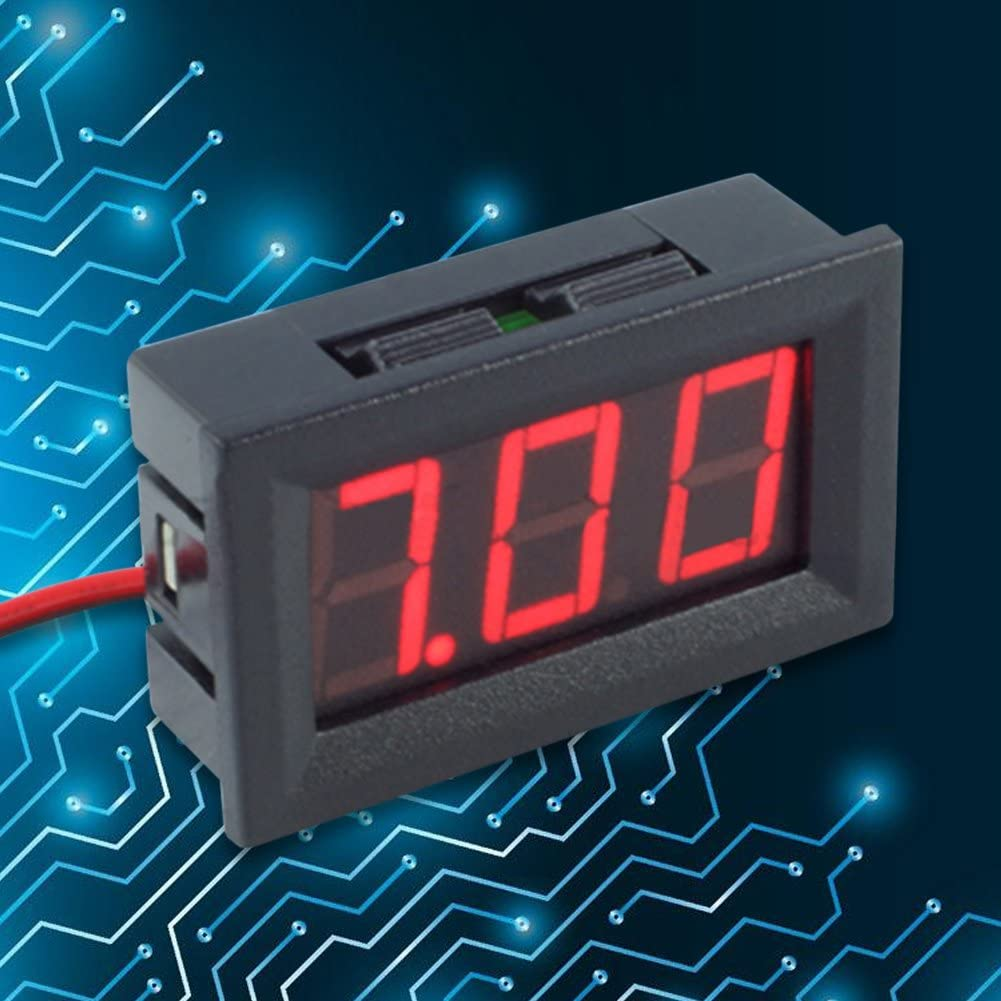 Awakingdemi Digits DC Voltmeter 0.56inch LED Display DC 4.5-30V Two-Wire Digital Voltmeter LED Display for Auto Motor Red