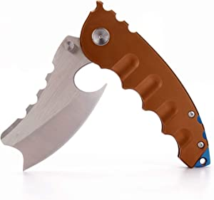 "Samior Big Shark S327 Custom Folding Flipper Knife, 3.27"" Razor Sharp Axe-Style Cleaver Blade, Stainless Steel Gold Handle w/Frame Lock, Blue Back Spacer, Pocket Clip, Tactical Camping Hunting Knives"