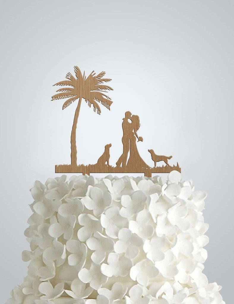 Wedding Cake Topper In Wood Groom And Bride Cake Under Palm Tree