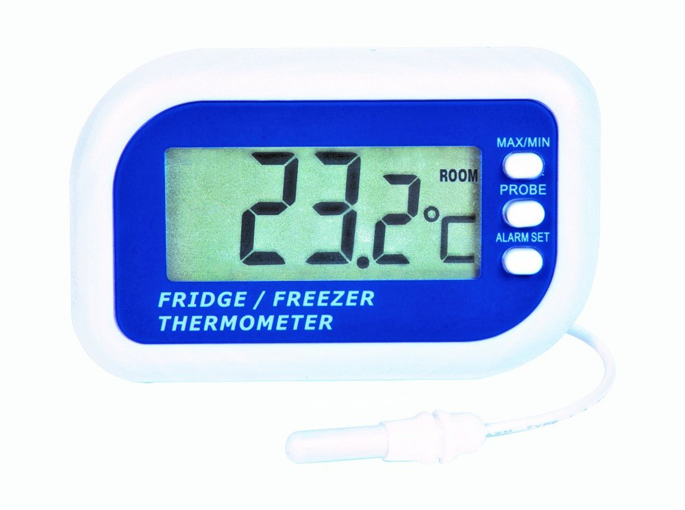 Digital Fridge or freezer alarm thermometer - Max min function & Dual sensor to display Fridge or Freezer and room temperatures ETI