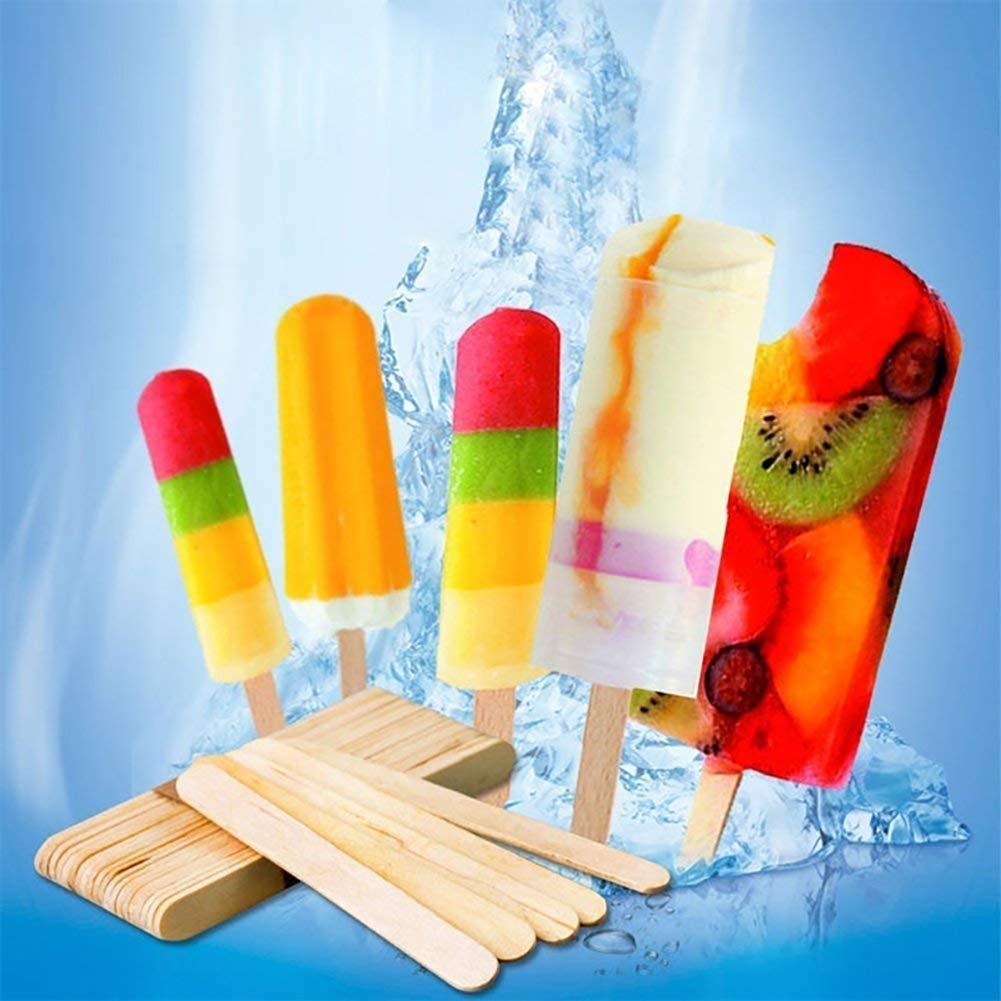 palitos de paleta de paleta de 4 1//2 pulgadas de longitud palitos de golosinas para helado As Shown-1 100 unidades palitos de helado de madera Palitos de paleta de madera