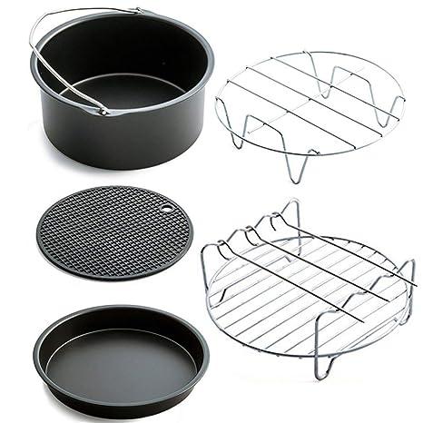 Ballylelly Home Accesorios para sartén de aire Cinco piezas de freidora Cesta para hornear Pizza Plate