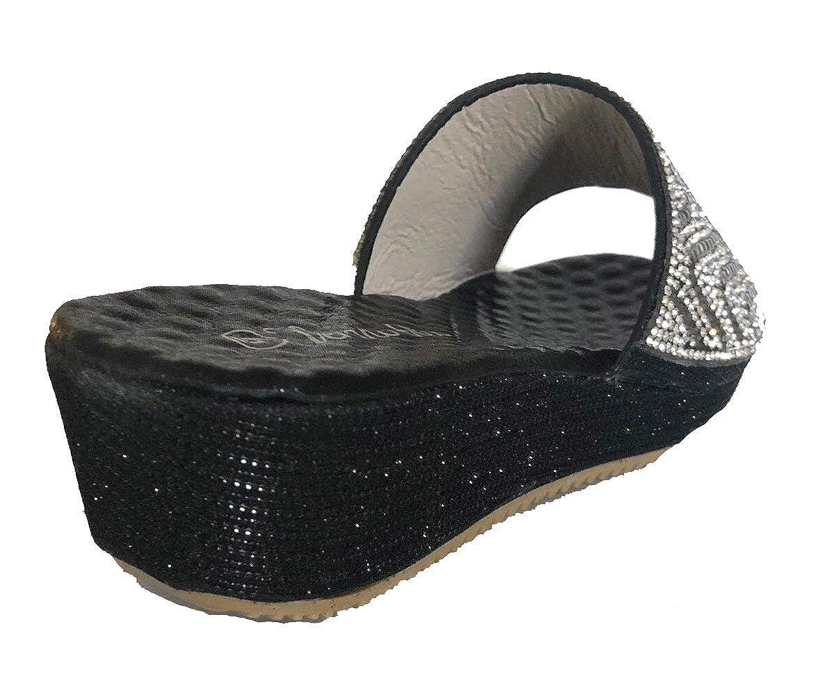 Verano Rio Womens Black Gold Silver Rhinestone Wedge Slip on Slides Sandals Shoes
