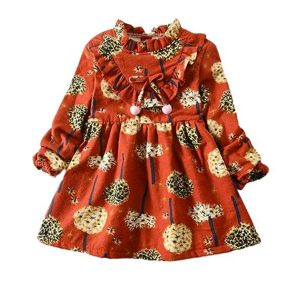 SamMoSon♥♥Vestido Fiesta Niña Manga Larga Princesa Vestidos para Conjuntos Faldas Deportivas Camisetas Bebe Invierno Ropa bebé recién Abrigo otoño ...