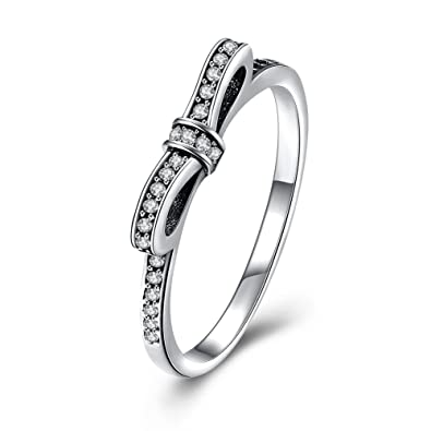 Bow ring fit pandora band ring styles with cubic zirconia 925 sterling silver XrCGoCk6