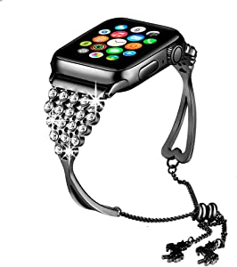 KARBYE Iwatch Bands 38mm 40mm Womens Black for Series 5/4/3/2/1, Bling Bracelet Compatible for Apple Watch Band 38mm 40mm Women Black, Dressy Metal Jewelry Band Bangle Cuff Wristband (Black)
