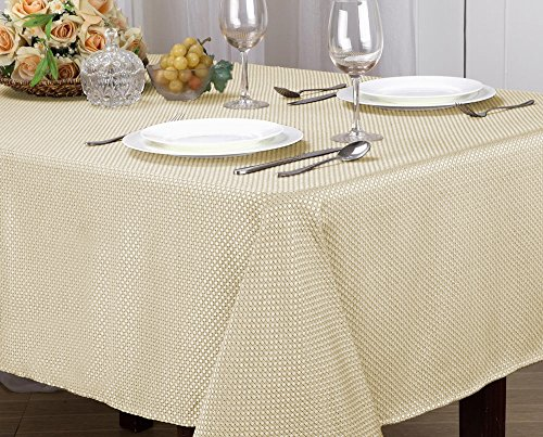[Monarch Collection Textured Jacquard Fabric Tablecloth, Rectangle, Round - Edith (52x70 Rectangle, Beige/Ivory)] (Jacquard Tablecloth Fabric)
