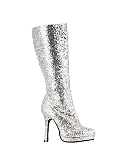 dfb873fc1b760 Knee High Silver Glitter Boots: Amazon.co.uk: Shoes & Bags