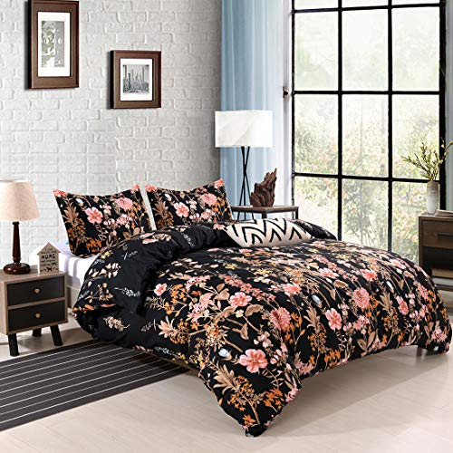 YMY Lightweight Microfiber Bedding Duvet Cover Set,Floral Print Pattern (Floral in Black, King)