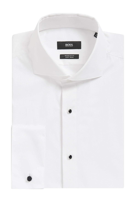 aefa0d57b Amazon.com: Hugo Boss Men's 'Grant' White Regular Fit 2 Ply Cotton Tuxedo Dress  Shirt 16.5, 35/36: Clothing