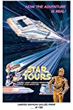 RARE POSTER thick STAR TOURS disney 1950s star wars REPRINT #'d/100!! 12x18