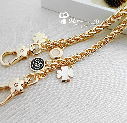 High-grade Camellia Clover Accessories Shape Chain 23 inch Long Golden Replacement Purse Chain strap for Handbag Bag Wallet Width - Replacement Strap Tory Burch