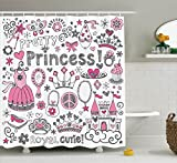 Teen Girls Decor Shower Curtain Set By Ambesonne, Fairy Tale Princess Tiara Crown Notebook Doodle Design Sketch Illustration, Bathroom Accessories, 84 Inches Extralong