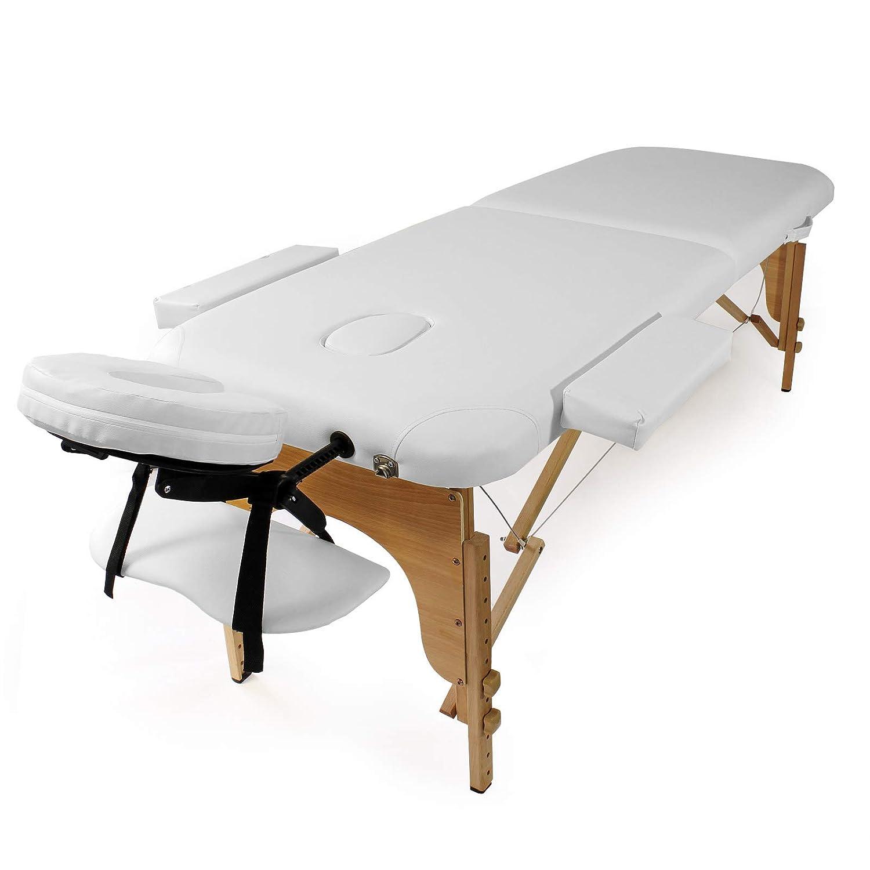 Wiltec Massageliege WeißKlappbar Armauflage Kosmetikliege Höhenverstellbar Mobil