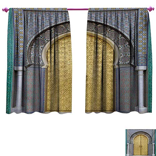 (cobeDecor Moroccan Patterned Drape for Glass Door Antique Doors Morocco Gold Doorknob Ornamental Carved Intricate Artistic Window Curtain Drape W55 x L63 Yellow Teal Blue)