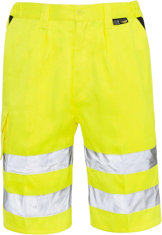 shelikes Mens Hi Viz Vis Visibility Combat Style Work Wear Cargo Pocket Shorts